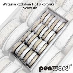 WSTĄŻKA OZDOBNA H019 KORONKA 1,5cm/3m