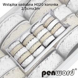 WSTĄŻKA OZDOBNA H020 KORONKA 2,5cm/3m