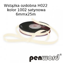 WSTĄŻKA OZDOBNA H022 KOL. 1002 SATYNOWA 6mmx25m