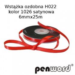 WSTĄŻKA OZDOBNA H022 KOL. 1026 SATYNOWA 6mmx25m