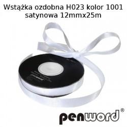 WSTĄŻKA OZDOBNA H023 KOL. 1001 SATYNOWA 12mmx25m