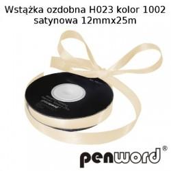 WSTĄŻKA OZDOBNA H023 KOL. 1002 SATYNOWA 12mmx25m