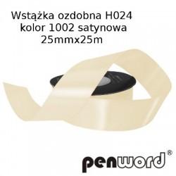 WSTĄŻKA OZDOBNA H024 KOL. 1002 SATYNOWA 25mmx25m