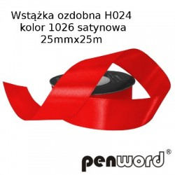 WSTĄŻKA OZDOBNA H024 KOL. 1026 SATYNOWA 25mmx25m
