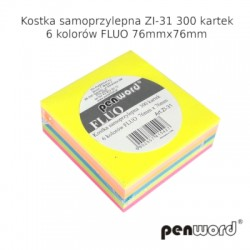 KOSTKA SAMOPRZYLEPNA ZI-31 6 KOLORÓW FLUO 76mmx76mm 300 KARTEK