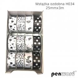 WSTĄŻKA OZDOBNA H034 25mmx3m