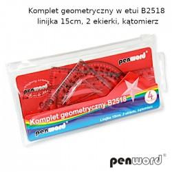 KOMPLET GEOMETRYCZNY W ETUI B2518 - LINIJKA 15cm, 2 EKIERKI, KĄTOMIERZ