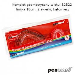 KOMPLET GEOMETRYCZNY W ETUI B2522 - LINIJKA 18cm, 2 EKIERKI, KĄTOMIERZ