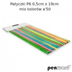PATYCZKI P6 0,5cm x 19cm MIX KOLORÓW a'50