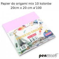 PAPIER DO ORIGAMI MIX 10 KOLORÓW 20x20cm 80gsm a'100