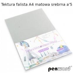 TEKTURA FALISTA A4 MATOWA SREBRNA a'5