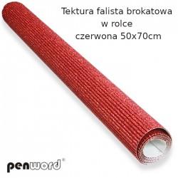 TEKTURA FALISTA BROKATOWA W ROLCE CZERWONA 50x70cm