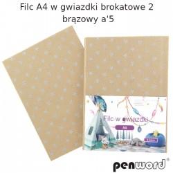 FILC A4 W GWIAZDKI BROKATOWE 2 BRĄZOWY a'5
