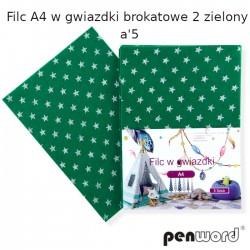 FILC A4 W GWIAZDKI BROKATOWE 2 ZIELONY a'5