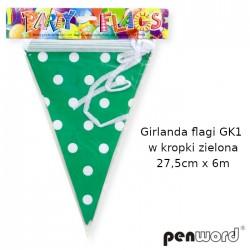 GIRLANDA FLAGI GK1 W KROPKI ZIELONA 27,5cm x 6m