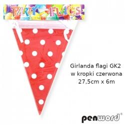 GIRLANDA FLAGI GK2 W KROPKI CZERWONA 27,5cmx6m