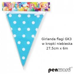 GIRLANDA FLAGI GK3 W KROPKI NIEBIESKA 27,5cmx6m