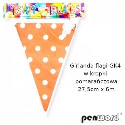 GIRLANDA FLAGI GK4 W KROPKI POMARAŃCZOWA 27,5cmx6m