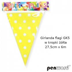 GIRLANDA FLAGI GK5 W KROPKI ŻÓŁTA 27,5cmx6m
