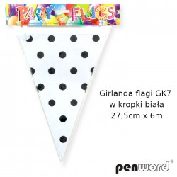 GIRLANDA FLAGI GK7 W KROPKI BIAŁA 27,5cmx6m