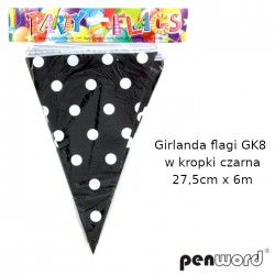 GIRLANDA FLAGI GK8 W KROPKI CZARNA 27,5cmx6m