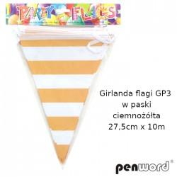 GIRLANDA FLAGI GP3 W PASKI CIEMNOŻÓŁTA 27,5cmx10m