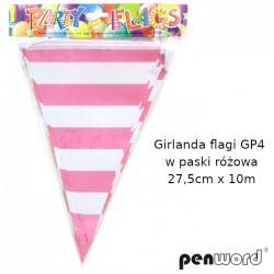 GIRLANDA FLAGI GP4 W PASKI RÓŻOWA 27,5cmx10m