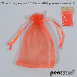 WORECZKI ORGANZOWE 10x15cm WR02 POMARAŃCZOWE a'10