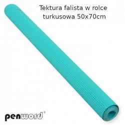 TEKTURA FALISTA W ROLCE TURKUSOWA 50x70cm