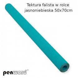 TEKTURA FALISTA W ROLCE JASNONIEBIESKA  50x70cm