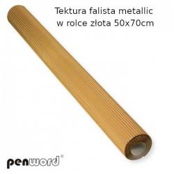 TEKTURA FAL.METALLIC W ROLCE ZŁOTA 50x70cm