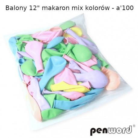 """BALONY 12"""" MAKARON MIX KOLORÓW - a'100"""