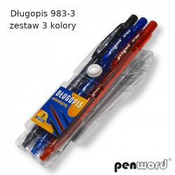 DŁUGOPIS 983-3 ZESTAW 3 KOLORY