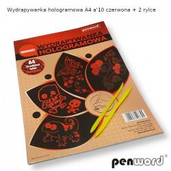 WYDRAPYWANKA HOLOGRAMOWA A4 a'10  CZERWONA + 2rylce