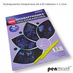WYDRAPYWANKA HOLOGRAMOWA A4 a'10 NIEBIESKA + 2 rylce