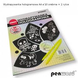 WYDRAPYWANKA HOLOGRAMOWA A4 a'10 SREBRNA + 2 rylce