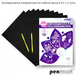 WYDRAPYWANKA HOLOGRAMOWA A4 SREBRNA TĘCZA a'10  +2rylce