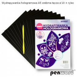 WYDRAPYWANKA HOLOGRAMOWA A5 SREBRNA TĘCZA a'10 + rylec