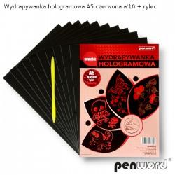 WYDRAPYWANKA HOLOGRAMOWA A5 CZERWONA a'10 + rylec