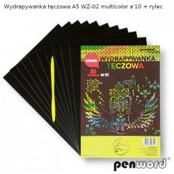 WYDRAPYWANKA TĘCZOWA A5 WZ-02 MULTICOLOR a'10 + rylec