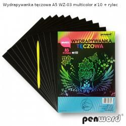 WYDRAPYWANKA TĘCZOWA A5 WZ-03 MULTICOLOR a'10 + rylec