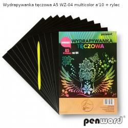 WYDRAPYWANKA TĘCZOWA A5 WZ-04 MULTICOLOR a'10 + rylec