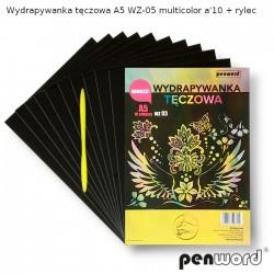 WYDRAPYWANKA TĘCZOWA A5 WZ-05 MULTICOLOR a'10 + rylec